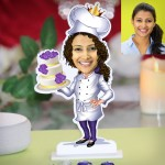 Lady with cake caricature Photo Stand In