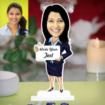 Lady with message display caricature Photo Stand In