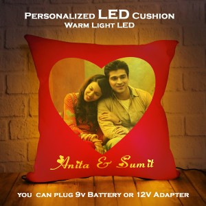 Personalized LED Cushion with Red Background Design backview