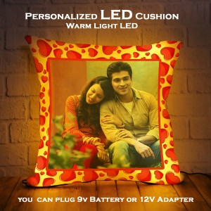 Personalized LED Cushion with Red Heart Border Design backview