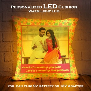 Personalized LED Cushion with Heart Border with Love Quote backview