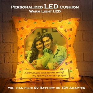 Personalized LED Cushion with love quote backview