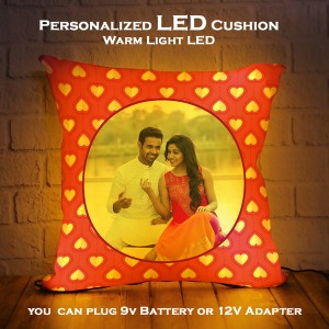 Personalized LED Cushion heart pattern background backview