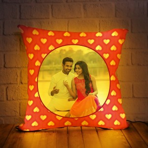 Personalized LED Cushion heart pattern background
