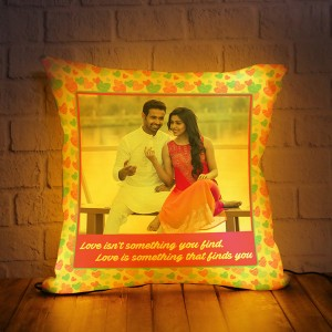 Personalized LED Cushion with Heart Border with Love Quote