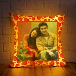 Personalized LED Cushion with Red Heart Border Design