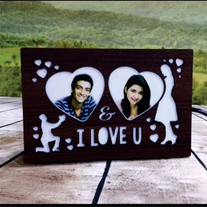 Personalized I Love You LED Glowing Table Frame backview