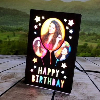 Personalized Happy Birthday LED Glowing Table Frame