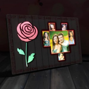 Personalized Rose with Heart LED Glowing Table Frame