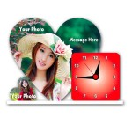 Personalized heart shaped acrylic clock - large