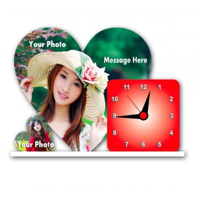 Personalized heart shaped acrylic clock - small