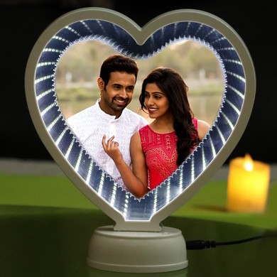 Magic mirror heart shape frame with LED light stand photo print