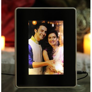 Magic mirror rectangular photo frame with LED light with photo print