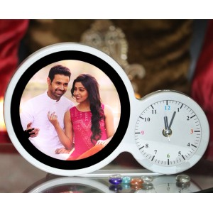 Magic mirror round photo frame clock with LED light with photo print