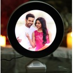 Magic mirror round photo frame with LED light with photo print
