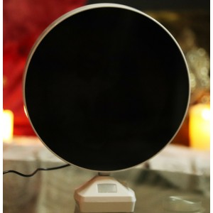 Magic mirror round photo frame with LED light with photo print backview
