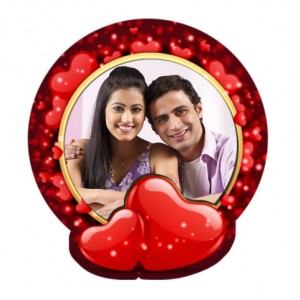 Round with hearts plastic personalized fridge magnet  backview