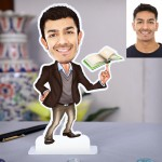 Male Teacher with book Caricature Photo Stand In
