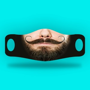 3D Print mustache and beard Fabric Face Cover 2pc Set B