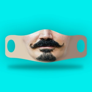 3D Print mustache and beard Fabric Face Cover 2pc Set C