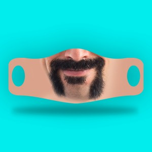3D Print mustache and beard Fabric Face Cover 2pc Set D