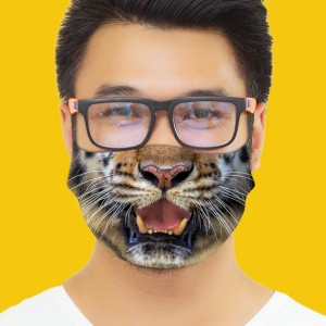 3D Print Tiger Fabric Face Cover 2pc Set backview
