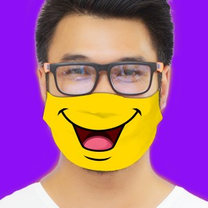 3D Print Expressions Smile Fabric Face Cover 2pc Set backview