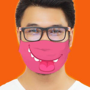 3D Print Funny Smile Fabric Face Cover 2pc Set backview