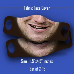 3D Print mustache and beard styles Fabric Face Cover 2pc Set A backview