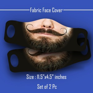 3D Print mustache and beard Fabric Face Cover 2pc Set B backview