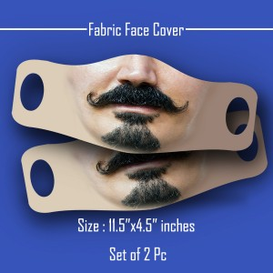 3D Print mustache and beard Fabric Face Cover 2pc Set C backview
