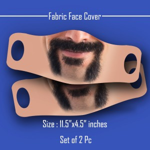 3D Print mustache and beard Fabric Face Cover 2pc Set D backview