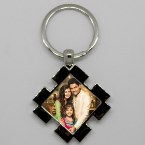 Metal Diamond Shaped Key Ring with design and photo