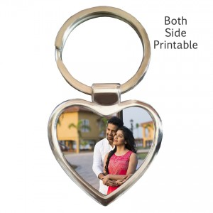 Metal heart shaped both side key ring