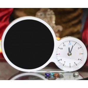 Magic mirror round photo frame clock with LED light with photo print backview