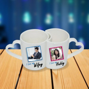 Personalized Hubby and Wifey couple photo mug set backview