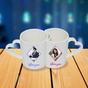 Personalized Magnet Drawing couple photo mug set backview