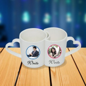 Personalized Propose couple photo mug set backview