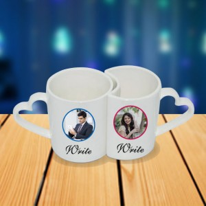 Personalized Mr. Right and Mrs. always right couple photo mug set backview