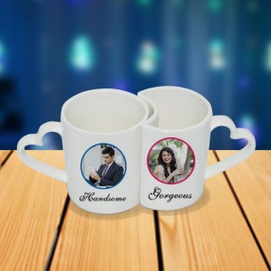 Personalized Cartoon male female photo mug set backview