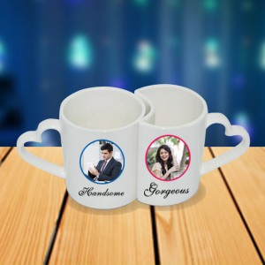 Personalized King Queen couple photo mug set backview