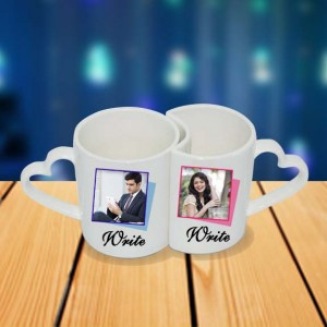 Personalized Mickey Mouse couple photo mug set backview
