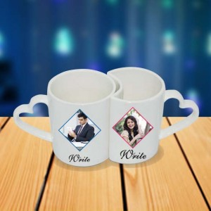 Personalized Running couple photo mug set backview