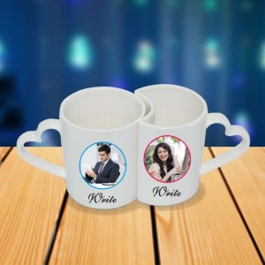 Personalized Propose Cartoon couple photo mug set backview
