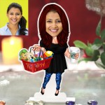 Modern Mother with basket caricature Photo Stand In