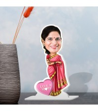 Mom in Saree Caricature Photo Stand In