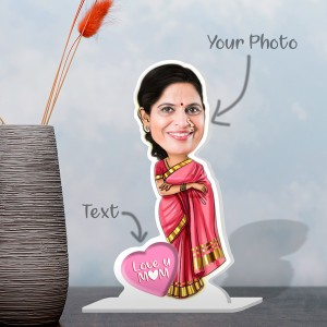 Mom in Saree Caricature Photo Stand In backview