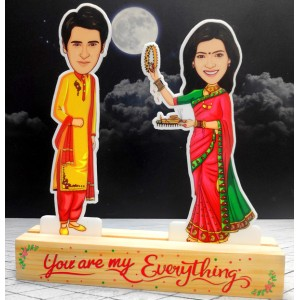 Personalized Karwa chauth toon Couple Caricature Photo Stand In backview