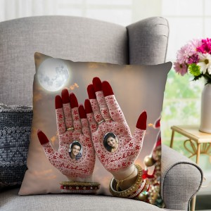 Personalized Name Mehndi Cushion for Karwa Chauth gift for wife