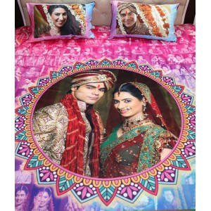 Personalized Mosaic photo bed sheet with pillow cover set backview